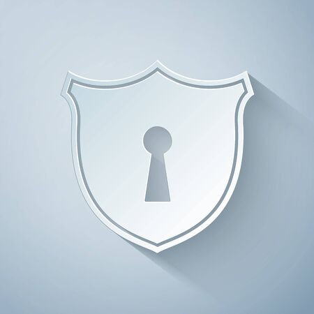 Paper cut Shield with keyhole icon isolated on grey background. Protection and security concept. Safety badge icon. Privacy banner. Defense tag. Paper art style. Vector Illustration