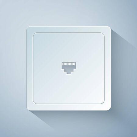 Papier geschnittenes Ethernet-Socket-Zeichen. Netzwerkanschluss - Kabelbuchsensymbol auf grauem Hintergrund isoliert. LAN-Port-Symbol. Symbol für den LAN-Anschluss. Stil der Papierkunst. Vektorillustration