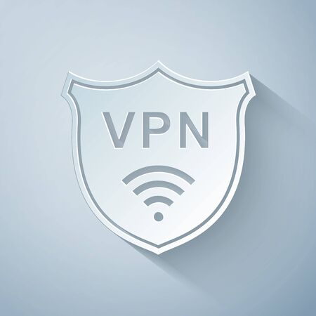 Paper cut Shield with VPN and WiFi wireless internet network symbol icon on grey background. VPN protect safety concept. Virtual private network for security. Paper art style. Vector Illustration