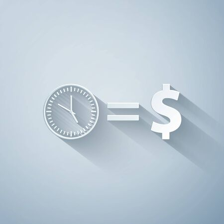 Paper cut Time is money icon isolated on grey background. Money is time. Effective time management. Convert time to money. Paper art style. Vector Illustration