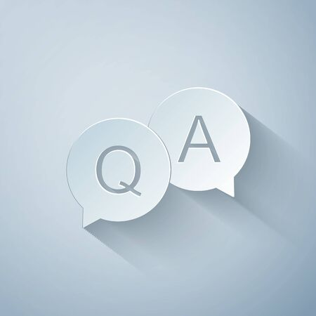 Paper cut Question and Answer mark in speech bubble icon isolated on grey background. Q and A symbol. FAQ sign. Copy files, chat speech bubble and chart web icons. Paper art style. Vector Illustration 向量圖像