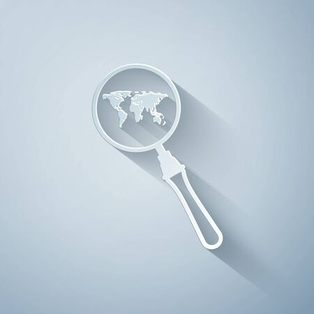 Paper cut Magnifying glass with world map icon isolated on grey background. Analyzing the world. Global search sign. Paper art style. Vector Illustration