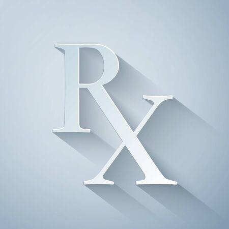 Paper cut Medicine symbol Rx prescription icon isolated on grey background. Paper art style. Vector Illustration