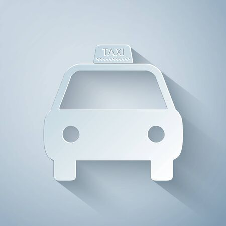 Paper cut Taxi car icon isolated on grey background. Paper art style. Vector Illustration 向量圖像