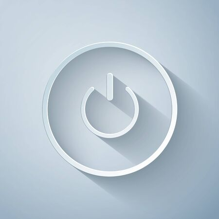 Paper cut Power button icon isolated on grey background. Start sign. Paper art style. Vector Illustration 向量圖像