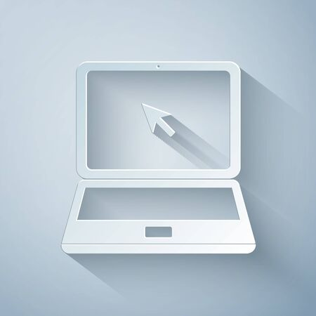 Paper cut Laptop with cursor icon isolated on grey background. Paper art style. Vector Illustration 向量圖像