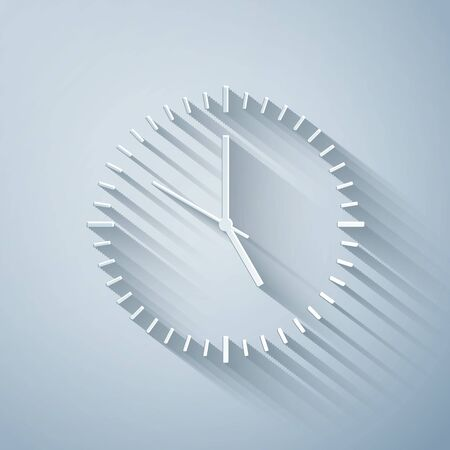 Paper cut Clock icon isolated on grey background. Time icon. Paper art style. Vector Illustration