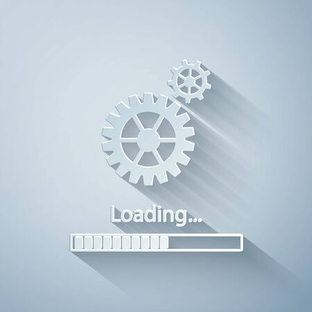 Paper cut Loading and gear icon isolated on grey background. Progress bar icon. System software update. Loading process symbol. Paper art style. Vector Illustration