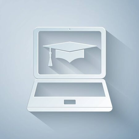Paper cut Graduation cap and laptop icon. Online learning or e-learning concept icon isolated on grey background. Paper art style. Vector Illustration