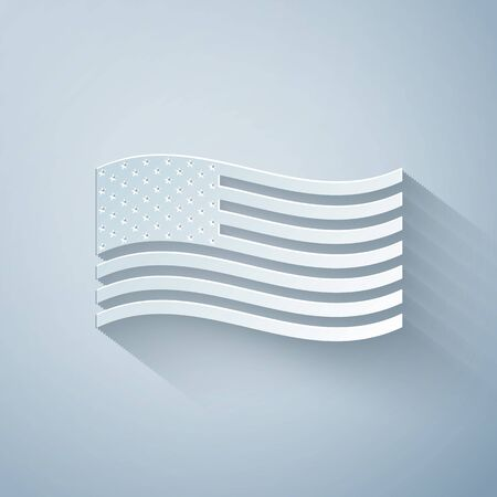 Paper cut American flag icon isolated on grey background. Flag of USA. Paper art style. Vector Illustration