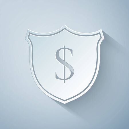 Paper cut Shield and dollar icon isolated on grey background. Security shield protection. Money security concept. Paper art style. Vector Illustration