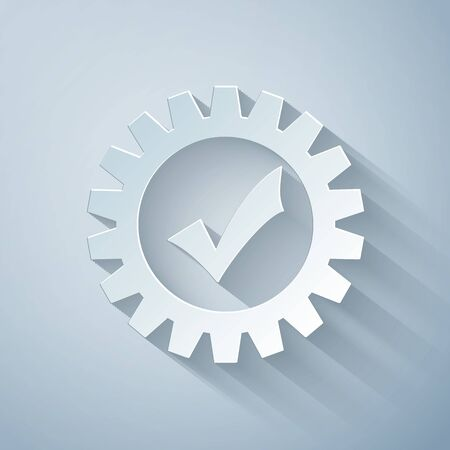 Paper cut Gear with check mark icon isolated on grey background. Cogwheel simple icon. Approved service sign. Transmission Rotation Mechanism symbol. Paper art style. Vector Illustration 向量圖像