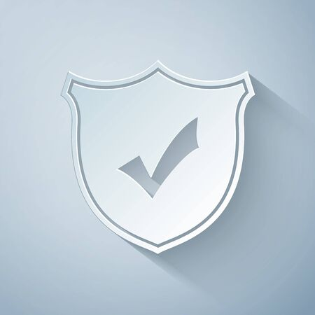 Paper cut Shield with check mark icon isolated on grey background. Protection symbol. Security check Icon. Tick mark approved icon. Paper art style. Vector Illustration