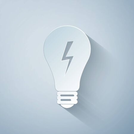 Paper cut Light lamp sign. Bulb with lightning symbol icon isolated on grey background. Idea symbol. Paper art style. Vector Illustration 向量圖像