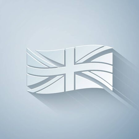 Paper cut Flag of Great Britain icon isolated on grey background. UK flag sign. Official United Kingdom flag sign. British symbol. Paper art style. Vector Illustration