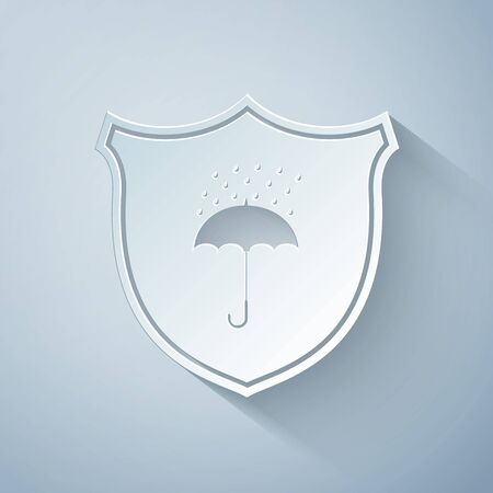 Paper cut Waterproof icon isolated on grey background. Shield and umbrella. Protection, safety, security concept. Water resistant symbol. Paper art style. Vector Illustration