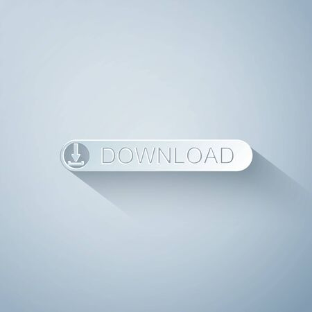 Paper cut Download button with arrow icon isolated on grey background. Upload button. Load symbol. Paper art style. Vector Illustration 向量圖像