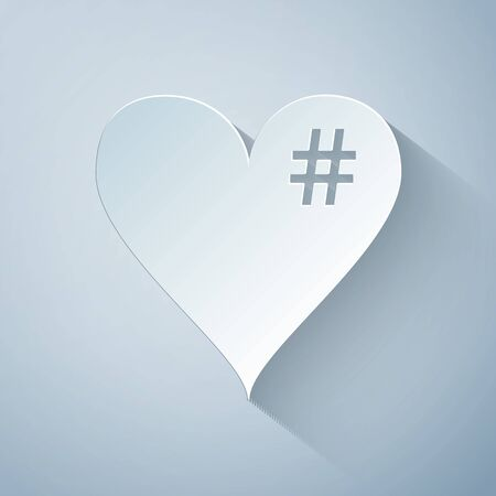 Paper cut The hash love icon. Hashtag heart symbol icon isolated on grey background. Paper art style. Vector Illustration