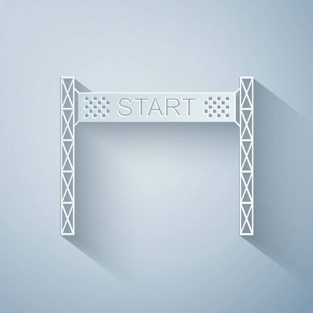 Paper cut Starting line icon isolated on grey background. Start symbol. Paper art style. Vector Illustration