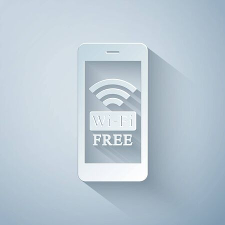 Paper cut Smartphone with free wifi wireless connection icon on grey background. Wireless technology, wifi connection, wireless network, hotspot concept. Paper art style. Vector Illustration