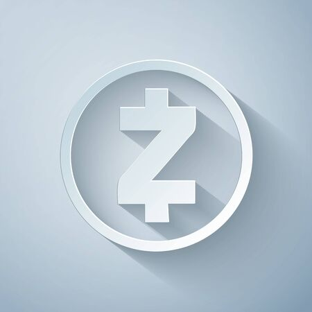 Paper cut Cryptocurrency coin Zcash ZEC icon on grey background. Physical bit coin. Digital currency. Altcoin symbol. Blockchain based secure crypto currency. Paper art style. Vector Illustration