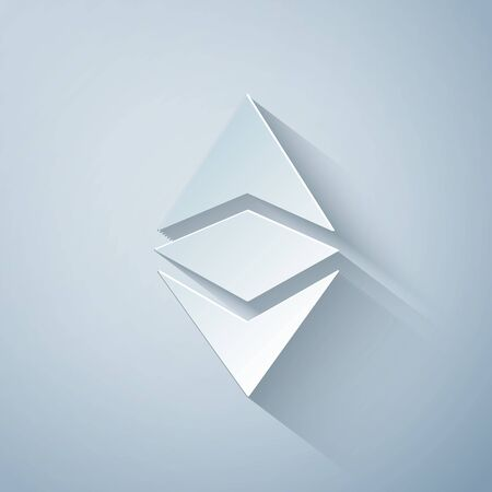 Paper cut Cryptocurrency coin Ethereum classic ETC icon on grey background. Physical bit coin. Digital currency. Altcoin. Blockchain based secure cryptocurrency. Paper art style. Vector Illustration 向量圖像