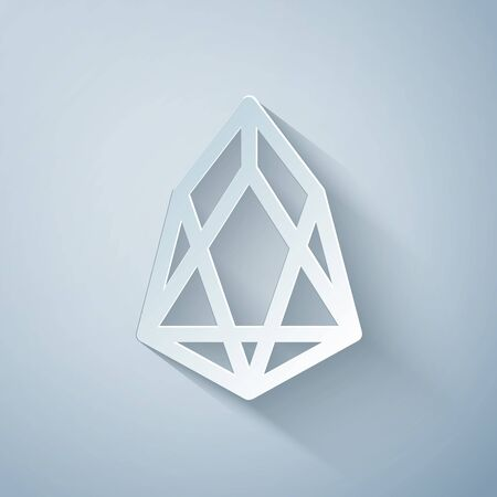 Paper cut Cryptocurrency coin EOS icon isolated on grey background. Physical bit coin. Digital currency. Altcoin symbol. Blockchain based secure crypto currency. Paper art style. Vector Illustration