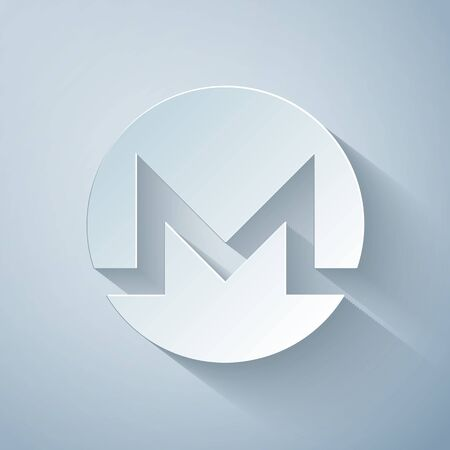 Paper cut Cryptocurrency coin Monero XMR icon on grey background. Physical bit coin. Digital currency. Altcoin symbol. Blockchain based secure crypto currency. Paper art style. Vector Illustration
