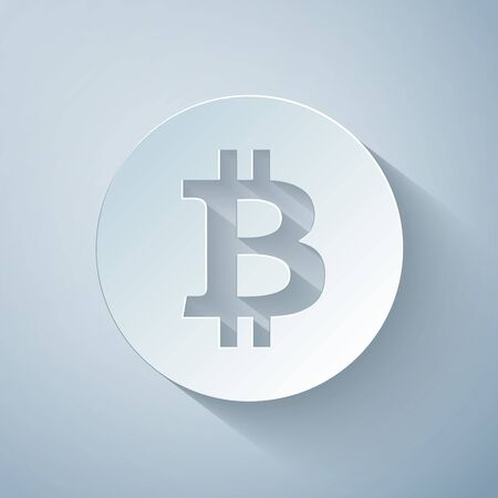 Paper cut Cryptocurrency coin Bitcoin icon on grey background. Bitcoin for internet money. Digital currency. Blockchain based secure crypto currency. Paper art style. Vector Illustration