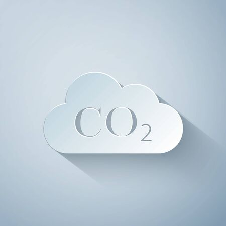 Paper cut CO2 emissions in cloud icon isolated on grey background. Carbon dioxide formula symbol, smog pollution concept, environment concept, combustion products. Paper art style. Vector Illustration Ilustrace