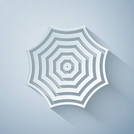 Paper cut Sun protective umbrella fo beach icon isolated on grey background. Large parasol for outdoor space. Beach umbrella. Summer vacation or picnic accessory. Paper art style. Vector Illustration