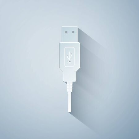 Paper cut USB cable cord icon on grey background. Connectors and sockets for PC and mobile devices. Computer peripherals connector or smartphone recharge supply. Paper art style. Vector Illustration Illustration
