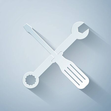 Paper cut Spanner and screwdriver tools icon isolated on grey background. Service tool symbol. Paper art style. Vector Illustration