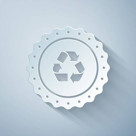 Paper cut Recycle symbol label icon isolated on grey background. Environment recycling symbol. Paper art style. Vector Illustration 向量圖像