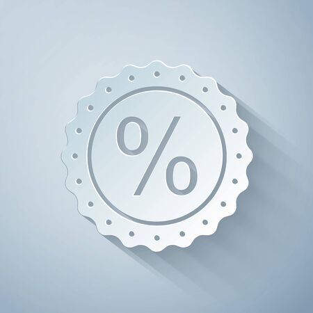 Paper cut Percent symbol discount icon isolated on grey background. Sale percentage - price label, tag. Paper art style. Vector Illustration