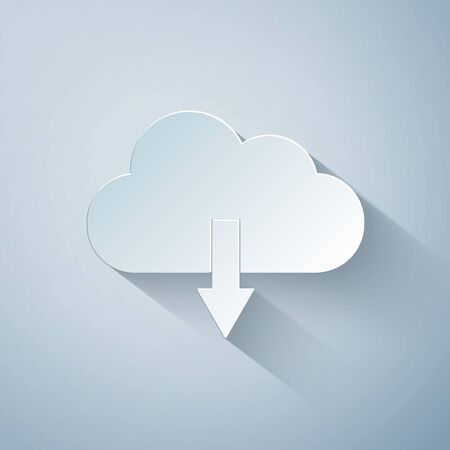 Paper cut Cloud download icon isolated on grey background. Paper art style. Vector Illustration 向量圖像