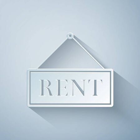 Paper cut Hanging sign with text Rent icon isolated on grey background. Paper art style. Vector Illustration 向量圖像