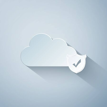 Paper cut Cloud and shield with check mark icon isolated on grey background. Cloud storage data protection. Security, safety, protection, privacy concept. Paper art style. Vector Illustration Illustration