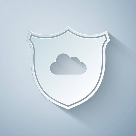 Paper cut Cloud and shield icon isolated on grey background. Cloud storage data protection. Security, safety, protection, privacy concept. Paper art style. Vector Illustration