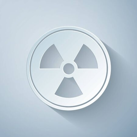 Paper cut Radioactive icon isolated on grey background. Radioactive toxic symbol. Radiation Hazard sign. Paper art style. Vector Illustration Ilustracja