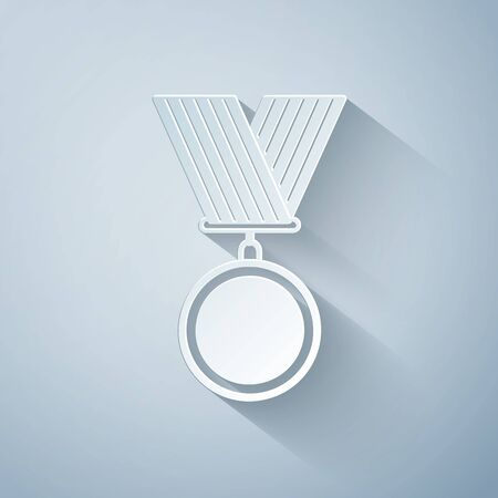 Paper cut Medal icon isolated on grey background. Winner symbol. Paper art style. Vector Illustration