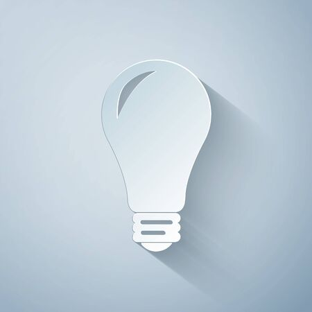 Paper cut Light bulb icon isolated on grey background. Energy and idea symbol. Lamp electric. Paper art style. Vector Illustration