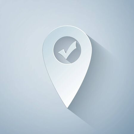 Paper cut Map pointer with check mark icon isolated on grey background. Marker location sign. Tick symbol. For location maps. Sign for navigation. Paper art style. Vector Illustration