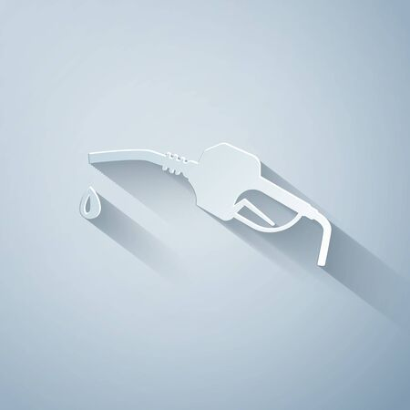 Paper cut Gasoline pump nozzle icon isolated on grey background. Fuel pump petrol station. Refuel service sign. Gas station icon. Paper art style. Vector Illustration