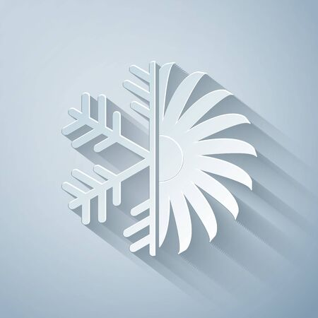 Paper cut Air conditioner icon isolated on grey background. Paper art style. Vector Illustration