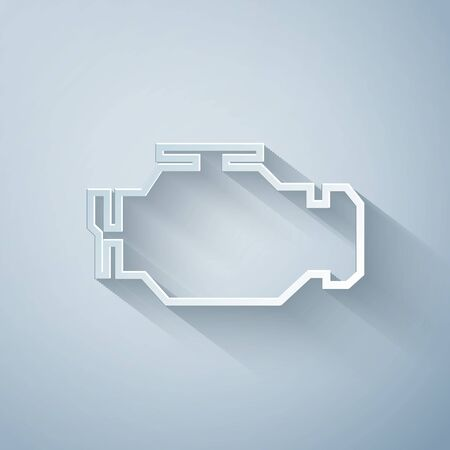 Paper cut Check engine icon isolated on grey background. Paper art style. Vector Illustration