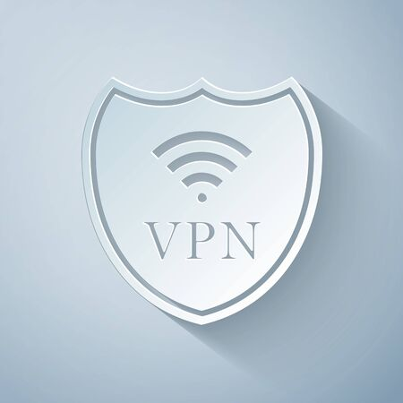 Paper cut Shield with VPN and WiFi wireless internet network symbol icon on grey background. VPN protect safety concept. Virtual private network for security. Paper art style. Vector Illustration Ilustracja
