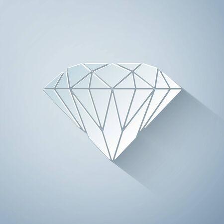 Paper cut Diamond icon isolated on grey background. Jewelry symbol. Gem stone. Paper art style. Vector Illustration Ilustracja