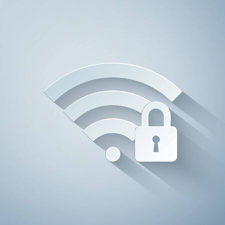 Paper cut Wifi locked icon isolated on grey background. Password Wi-fi symbol. Wireless Network icon. Wifi zone. Paper art style. Vector Illustration Ilustracja