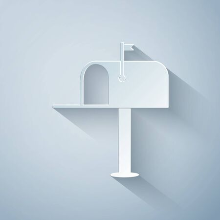 Paper cut Open mail box icon isolated on grey background. Mailbox icon. Mail postbox on pole with flag. Paper art style. Vector Illustration 일러스트